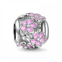 """""""Розовый цветок"""" подвеска - шарм на браслет серебро 925 Soufeel"""