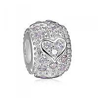 """Апрель """"Сердца"""" Зодиакальный камень белый подвеска - шарм на браслет серебро 925 Soufeel"""