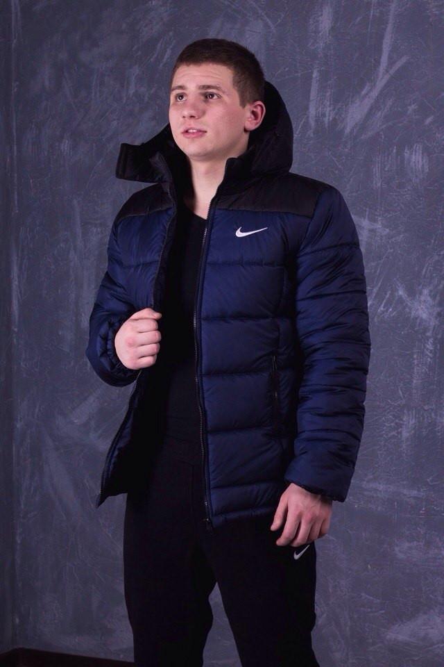 Зимняя мужская куртка Nike сине-черная топ реплика