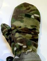 Перчатки-варежки зимние мультикам (флис+ткань)