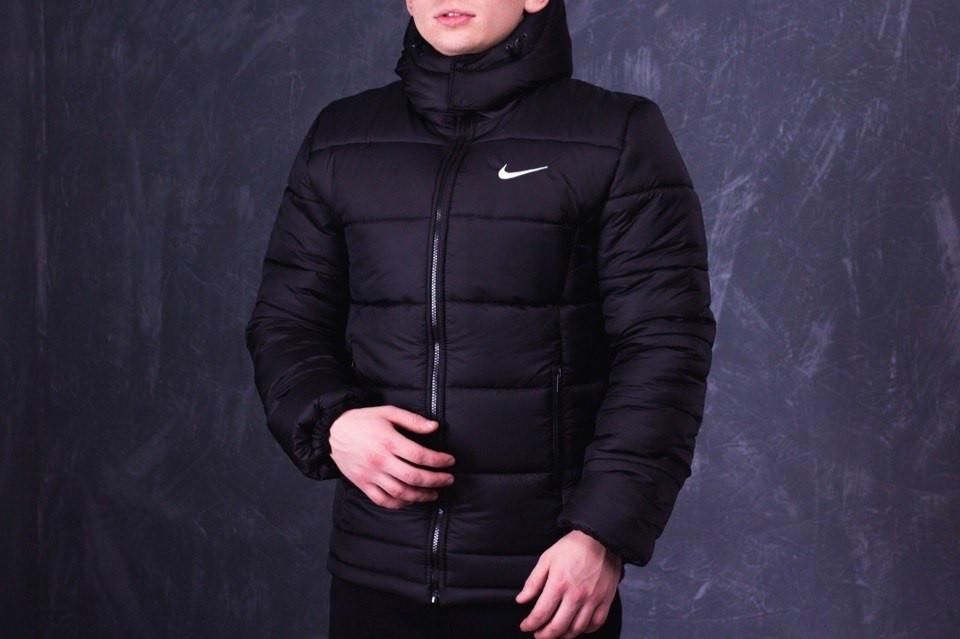 Мужская зимняя куртка Nike черная топ реплика