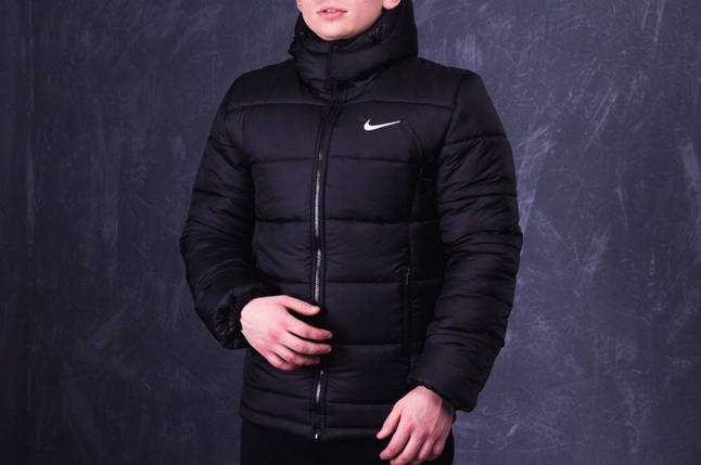 Мужская зимняя куртка Nike черная топ реплика, фото 2