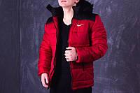Зимняя мужская куртка Nike красно-черная