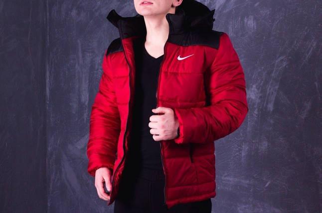 Зимняя мужская куртка Nike красно-черная топ реплика, фото 2
