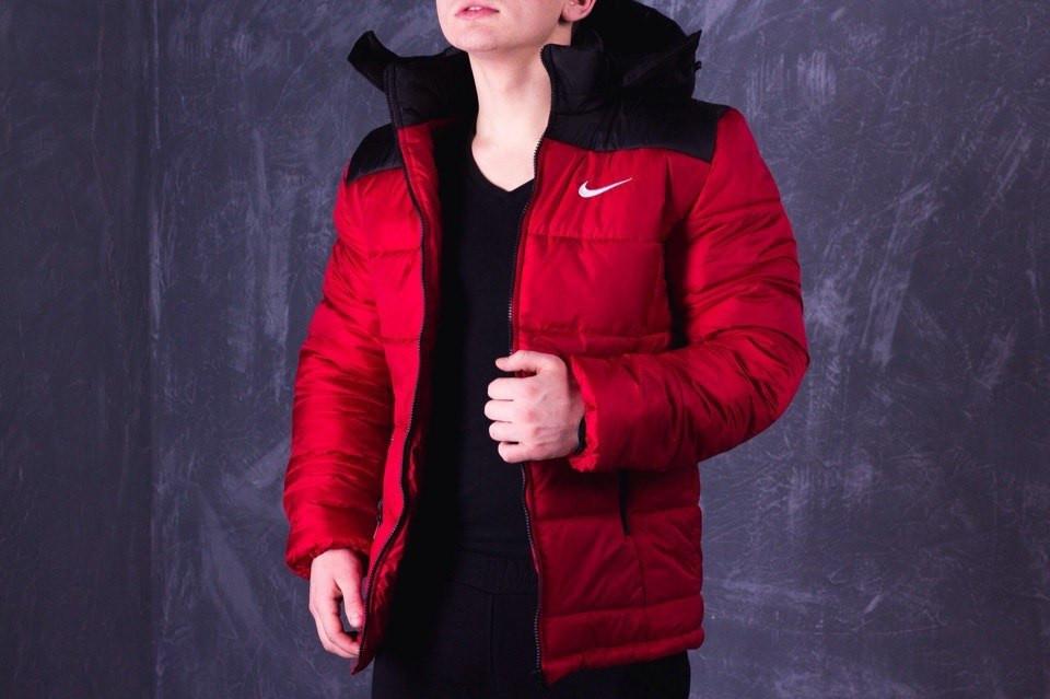 Зимняя мужская куртка Nike красно-черная топ реплика