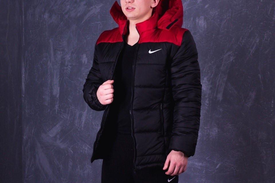 Зимняя мужская куртка Nike черно-красная топ реплика