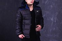Зимняя мужская куртка Nike черно-синяя