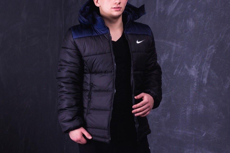 Зимняя мужская куртка Nike черно-синяя топ реплика