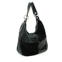 Женская кожаная сумка. Мод. 14 черная замша/ флотар