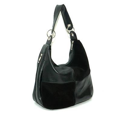 29d72d178cd9 Женская кожаная сумка. Мод. 14 черная замша  флотар - купить по ...