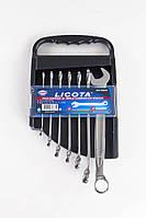 Набор ключей комбинированных изогнутых 30° 7пр. 8-19 мм LICOTA AWT-TCMK01