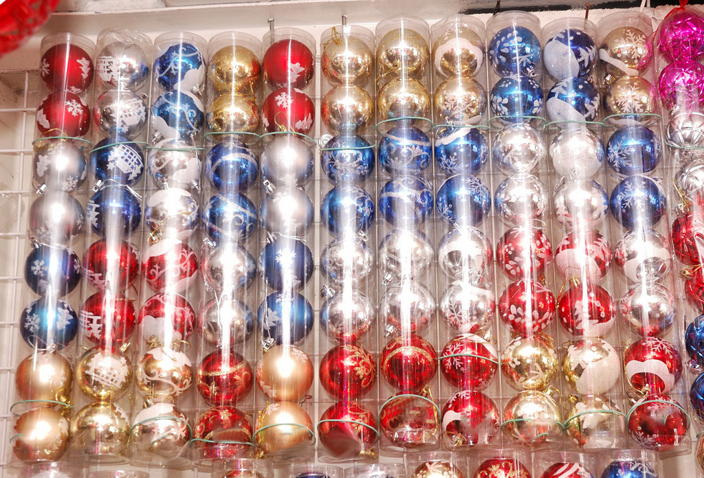 Набор новогодних елочных шаров с росписью | Синий | Красный | Золото | Серебро (В наборе 8 шт.)
