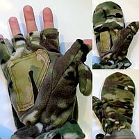 Перчатки-варежки зимние для рыбалки и охоты флис+ткань (Мультикам)   (до -20)