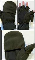 Перчатки-варежки зимние для рыбалки и охоты флис+ткань (Хаки) (до -20)