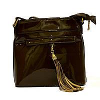 Женская лаковая сумка клатч хаки