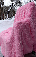 Меховой плед травка евро размер  яркий розовый 220*240