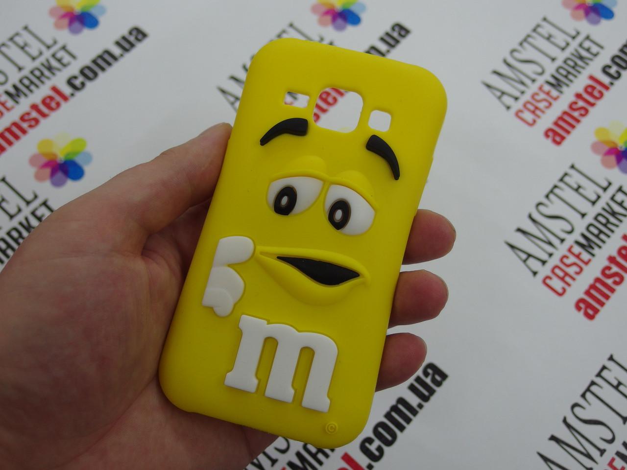 Объемный 3D силиконовый чехол для Samsung Galaxy J1 J100 желтый m&m's