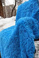 Меховой плед евро размер 220*240 длинный ворс  голубой-