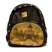 Коричневый стильный городской женский рюкзак с принтом