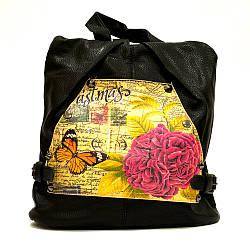 Черный городской женский рюкзак с нежный принтом