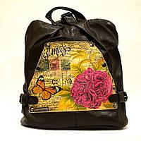 Коричневый городской женский рюкзак с нежный принтом