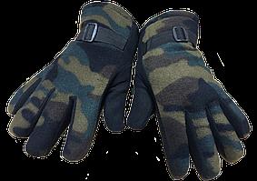 Перчатки на двойном флисе хаки