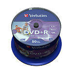 DVD+R Verbatim 4,7Gb 16x Cake 50 pcs Printable (43651)