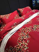 Алый комплект из египетского хлопка с россыпью цветков сакуры