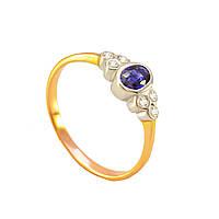 Золотое кольцо с сапфиром и бриллиантами