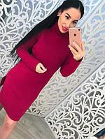 Вязаное платье-туника под горло