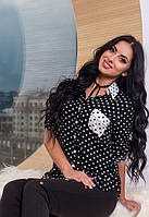 Женская черная рубашка в горошек турция