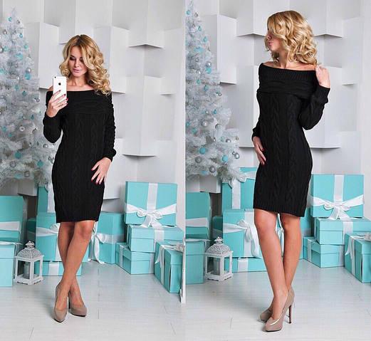 Женское платье, 30% шерсть, 70% акрил, р-р универсальный 42-46 (чёрный)