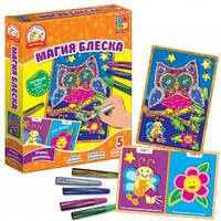 Набор для творчества Глитерные раскраски, Магия блеска. Сова, Vladi Toys  VT4801-12