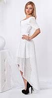 Женское вечернее платье белого цвета асимметричного кроя из гипюра. Модель 959 SL. 42, Белый