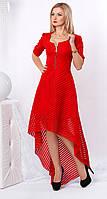 Женское вечернее платье красного цвета асимметричного кроя из гипюра. Модель 959 SL.