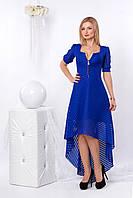 Женское вечернее платье синего цвета асимметричного кроя из гипюра. Модель 959 SL.