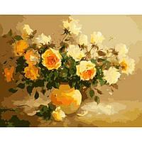 Картина по номерам на холсте Букет Нежно-желтые розы 40*50см КН278