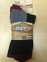 Шерстяные носки WoolPro 65% мерино, бордовые размер 40-44