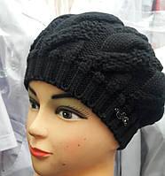 Женский черный берет вязанный