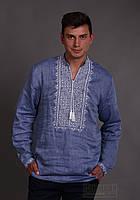 Мужская рубашка вышиванка - лен джинс