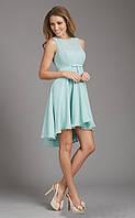 MD-1965 Ассиметричное Шифоновое Платье Голубое с Ассиметричной Юбкой