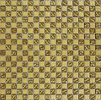 Мозайка шахматка рельефное золото-золотой песок