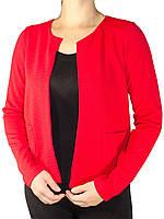 Стильные женские пиджаки без ворота в наличии большие размеры красный
