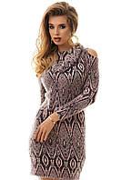Платье женское ангора с открытыми плечами теплое  S M L