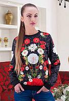 Женская кофта черная с розами на руди