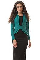 Платье женское ниже колена, двухцветное деловое  S M L