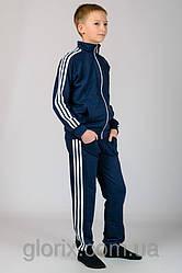 """Подростковый трикотажный спортивный костюм с классическим белым тройным лампасом """"Спорт №2"""""""