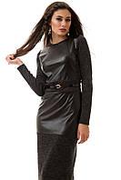 Платье женское ниже колена, стильное с эко-кожей  S M L
