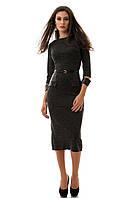 Платье женское ниже колена, с поясом, стильное с эко-кожей  S M L