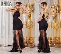 Платье турецкое КИККИ РИККИ ,в пол,черное ,низ фатиновый